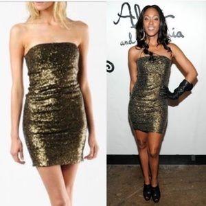 Alice + Olivia Dresses - Alice And Olivia Nicolette Bronze Sequin Dress